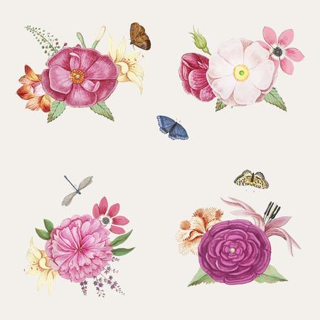 Vintage feminine pink flower blooming illustration vector