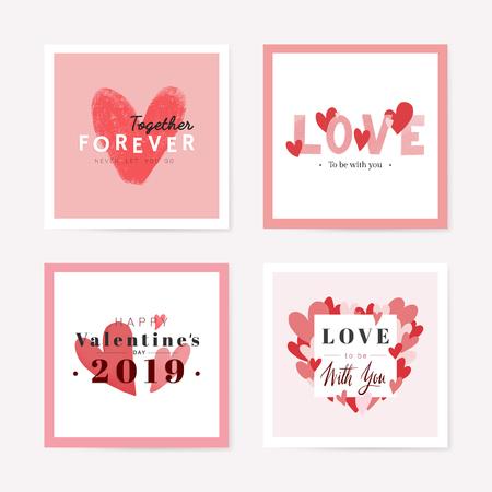 Collezione di set di carte di San Valentino in vettoriale