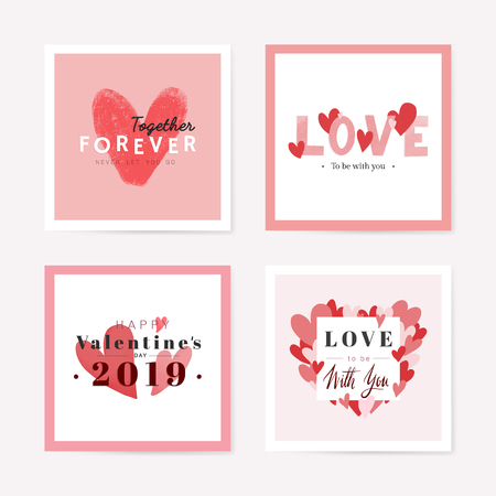 Valentine's day card set collection in vector 免版税图像 - 125353867