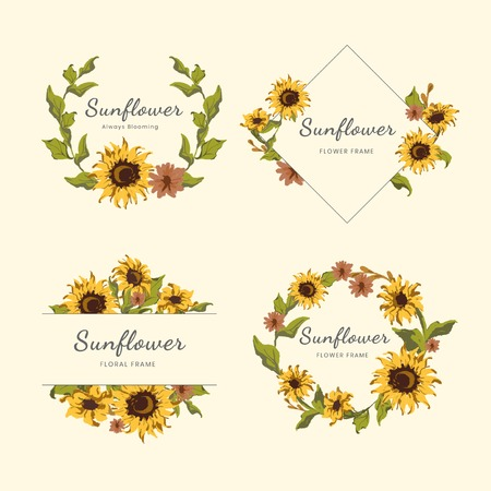 Sunflower frame badges vector set