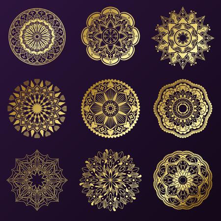 Golden mandala patterns set on black background