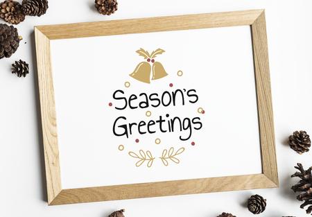 Festive seasons greetings design mockup Stock Photo
