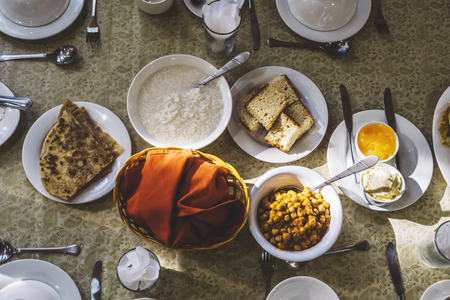 Traditional Pakistani breakfast set on a table