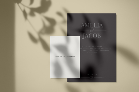 Join us to celebrate invitation card mockup Stock Photo