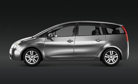 Side view of a silver minivan in 3D Stock Photo - 116615395