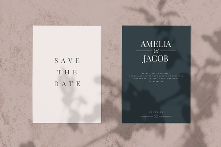 Save the date wedding invitation card mockup