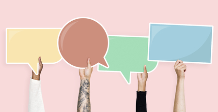 Hands holding speech bubble graphics