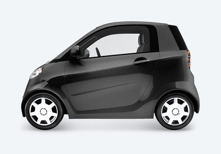 Side view of a black microcar in 3D