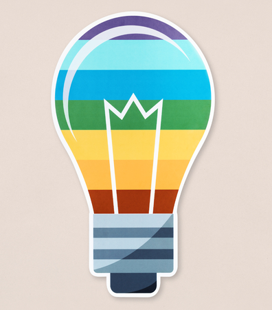 LGBT light bulb icon on isolated