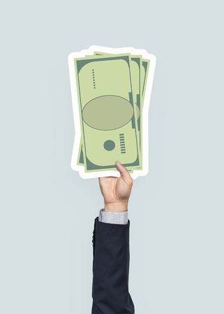 Hand holding paper money clipart Stock fotó