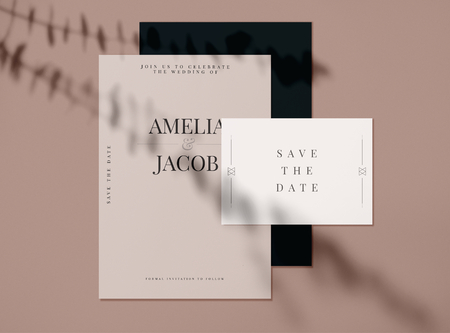 Save the date wedding invitation card mockups Stock Photo