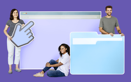 People holding a webpage, a cursor and a folder icons