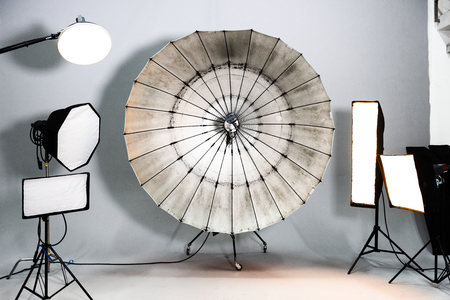Empty studio with lighting equipment
