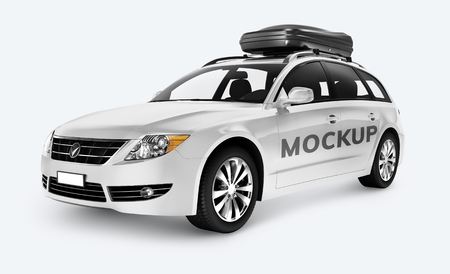 Side view of a white SUV in 3D