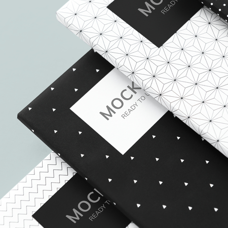 Black and white patterned notebook mockups 版權商用圖片 - 116616652