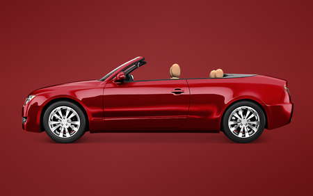 Side view of a red convertible in 3D Stock Photo - 116616744