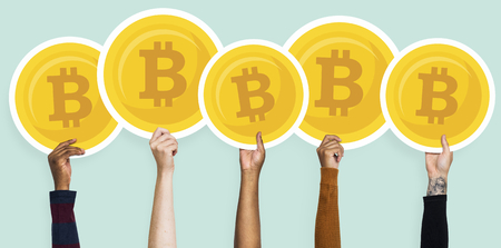 Hands holding up bitcoins clipart