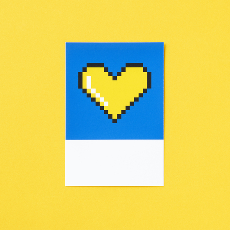Pixelated heart shape 3D illustration Stock Photo