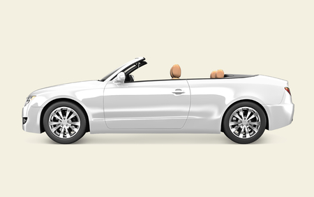 Seitenansicht eines weißen Cabrios in 3D