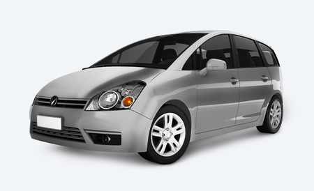 Side view of a silver minivan in 3D