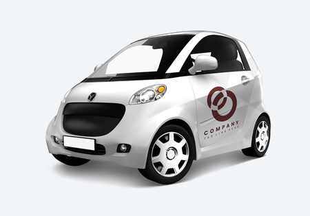 Side view of a white microcar in 3D Stock Photo