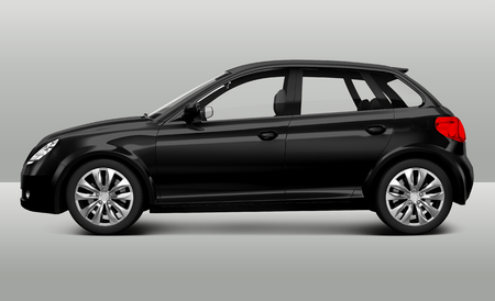 Side view of a black hatchback in 3D 스톡 콘텐츠