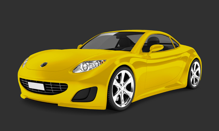 Side view of a yellow sports car in 3D 스톡 콘텐츠