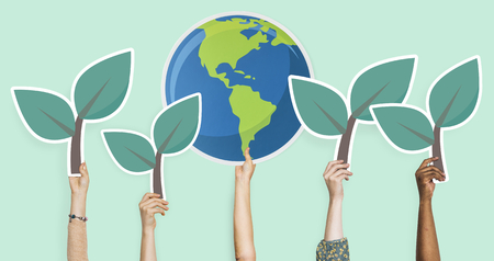 Hands holding plants and the world clipart