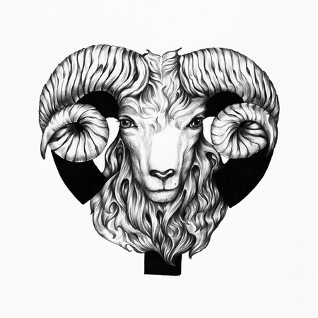Hand drawn horoscope symbol of Aries illustration