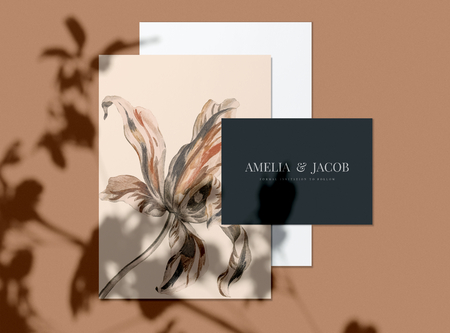 Floral wedding invitation card mockups Stock Photo