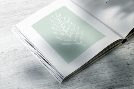 Magazine mockup with a leaf