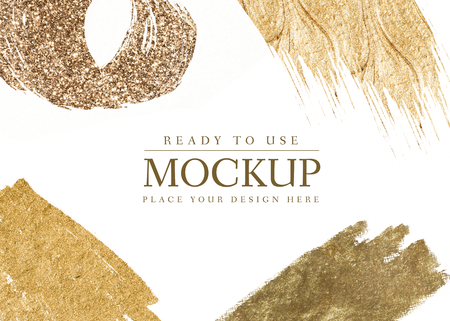 Golden shimmery brush stroke mockup