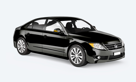 Side view of a black sedan in 3D Stock Photo