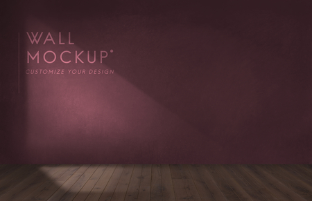 Empty room with a burgundy wall mockup Stock Photo