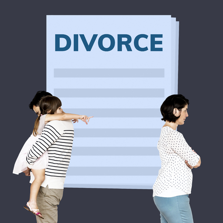 Married couple with a daughter getting a divorce Фото со стока