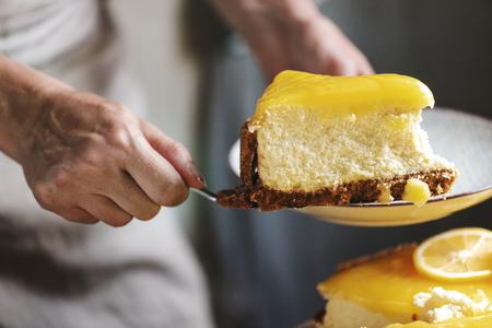 Homemade lemon cheesecake food photography recipe idea