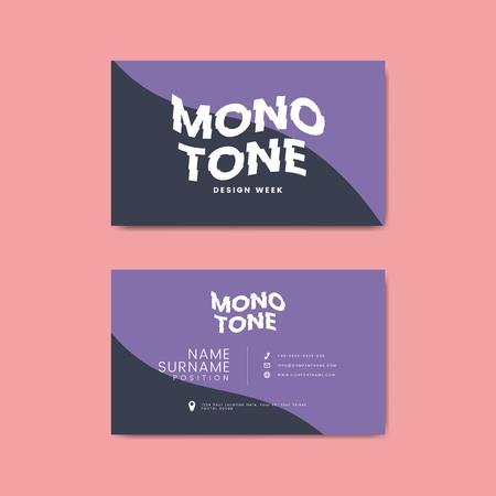 Monotone business card template mockup vector