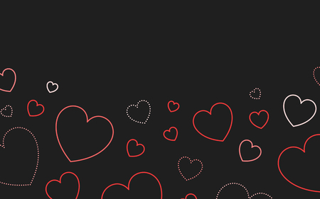 Red outlined hearts background vector