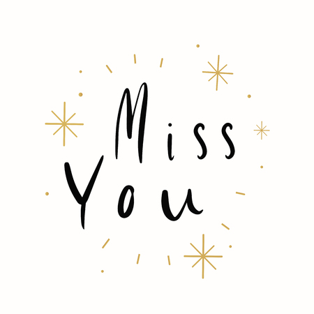 Miss you typography card vector