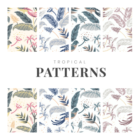 Pastel birds in nature seamless patterned backgrounds set vector