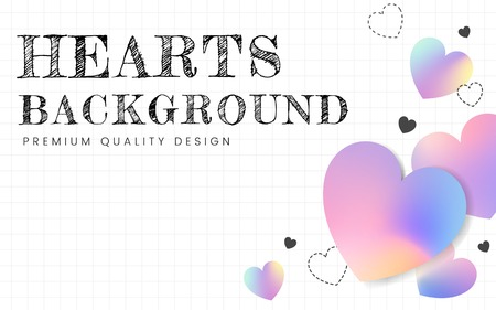Pastel hearts background design vector