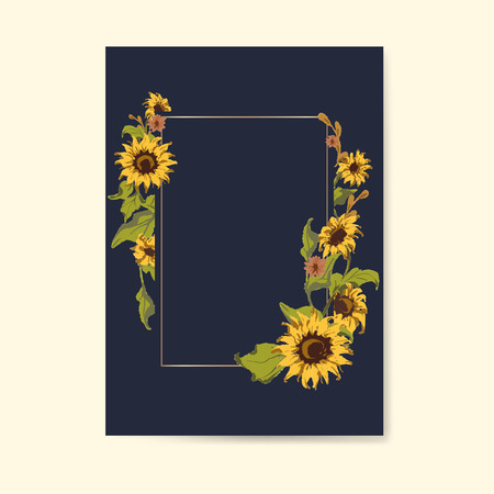 Blank sunflower invitation card mockup vector Illustration