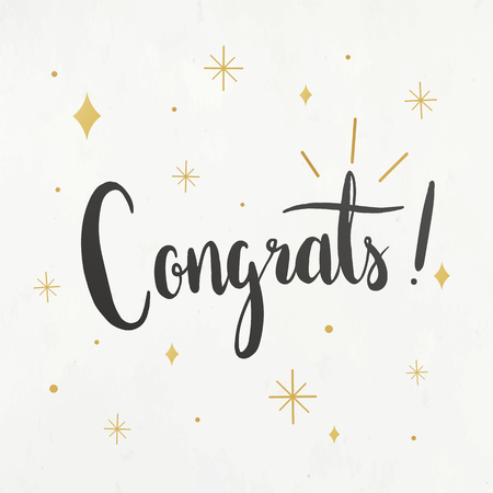 The word congrats typography vector Illustration