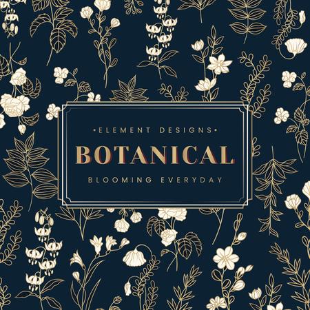 Navy blue botanical element design label vector Illustration