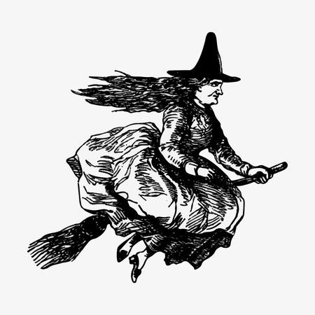 Witch riding a broomstick illustration vector