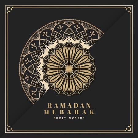 Black and gold Eid Mubarak postcard vector