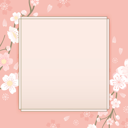 Pink cherry blossom framed vector