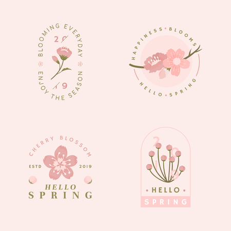 Pink cherry blossom badge vector  イラスト・ベクター素材