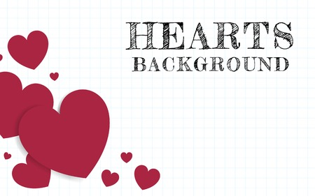 Red hearts background design vector