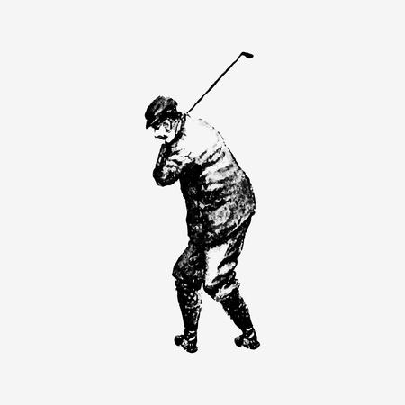Illustrazione vettoriale vintage del giocatore di golf Vettoriali